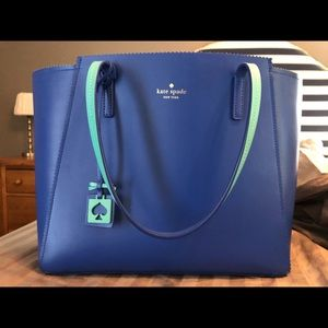 Kate Spade royal blue and turquoise tote bag.
